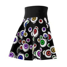 Load image into Gallery viewer, Goth Fashion Eyeballs Everywhere Women's Skater Skirt