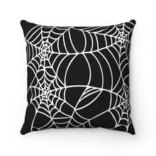 Load image into Gallery viewer, Halloween throw pillow black with white spider web design Square shape