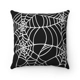 Halloween throw pillow black with white spider web design Square shape