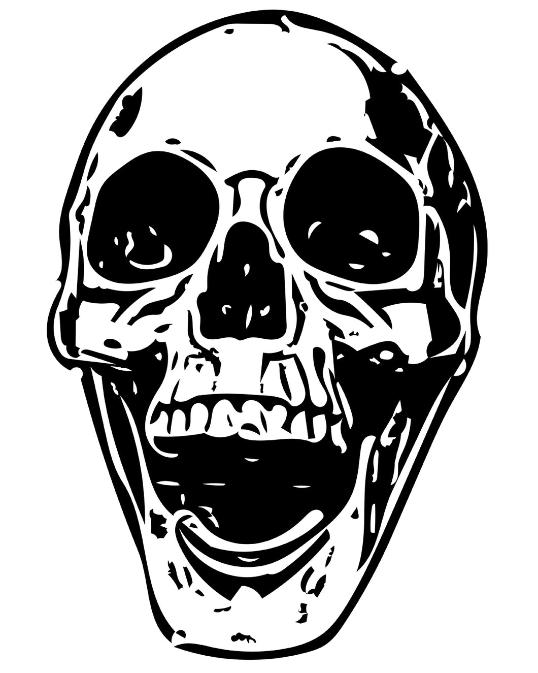 Free Creepy Halloween printable Human Skull Coloring page