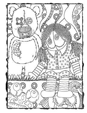 Dark Whimsical Art Downloadable Coloring page Scary Toys