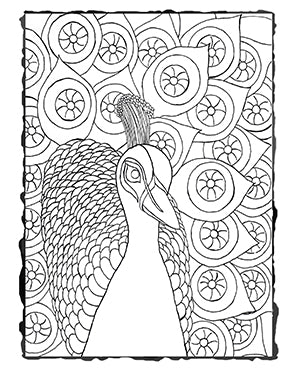 Downloadable Coloring Page Peacock covered in Eyeballs