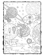Load image into Gallery viewer, Dark Whimsical Art Adult Coloring Page Strange World Downloadable Printable