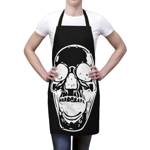 Black with white Skull Cooking or artist Apron