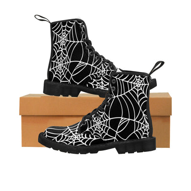 Halloween Black and white Spider Web Shoes Women's Martin Boots