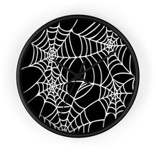 Load image into Gallery viewer, Halloween Decoration Black and white  spider web Wall clock black arms