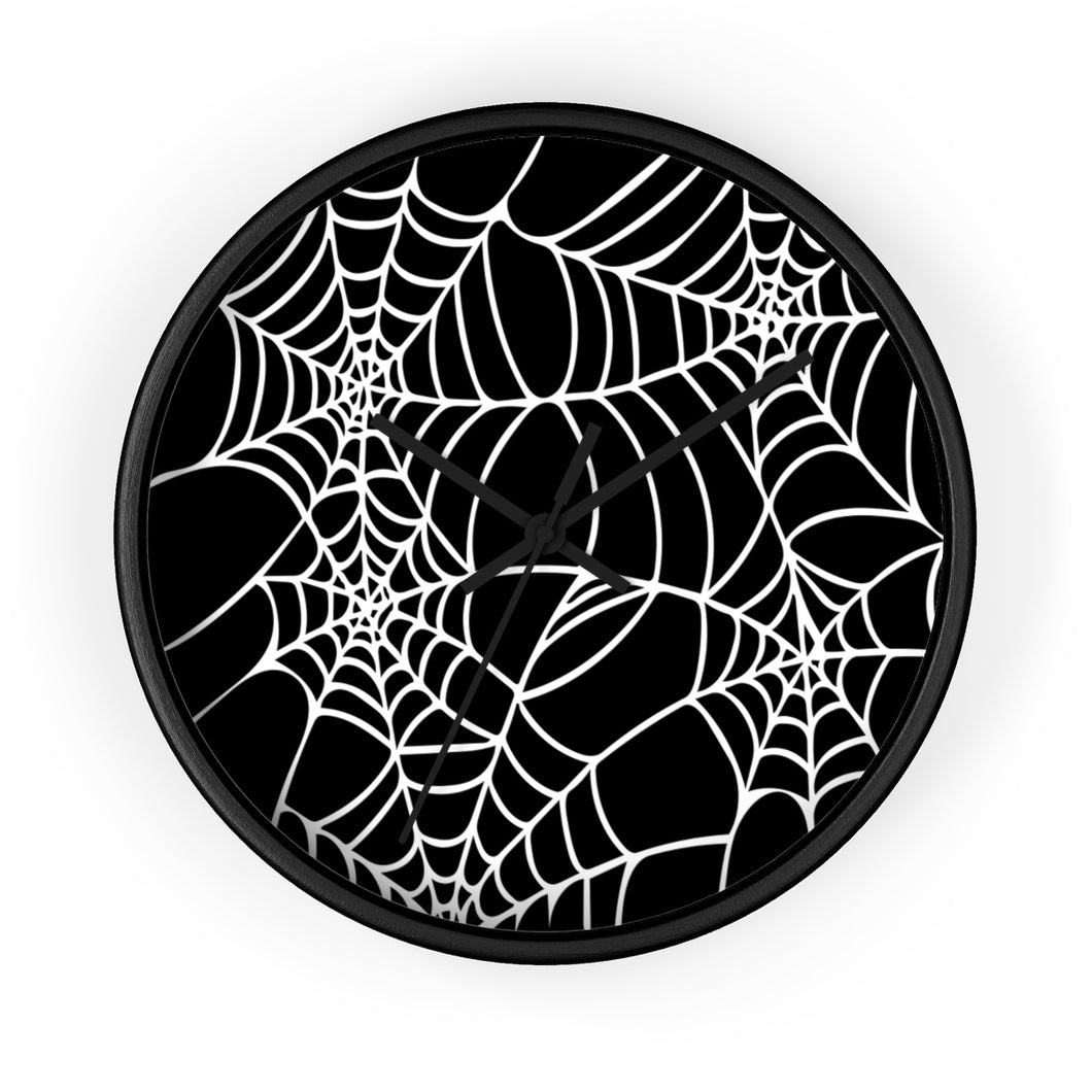 Halloween Decoration Black and white  spider web Wall clock black arms