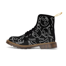 Load image into Gallery viewer, Black and White Skull and Bones Women's Goth Fashion Canvas Boots