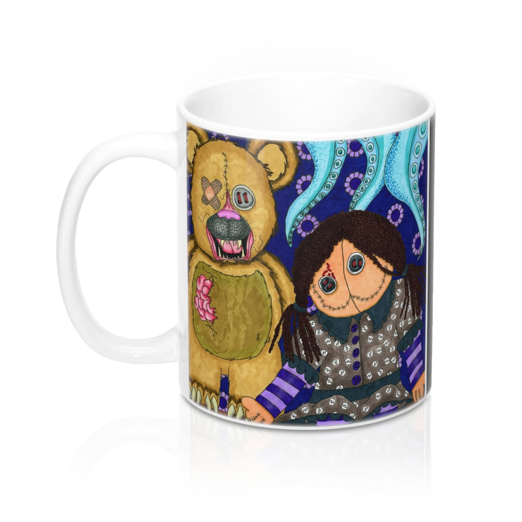 Halloween Coffee Mug Scary Toys by artist Roxanne Crouse Dark whimsical art