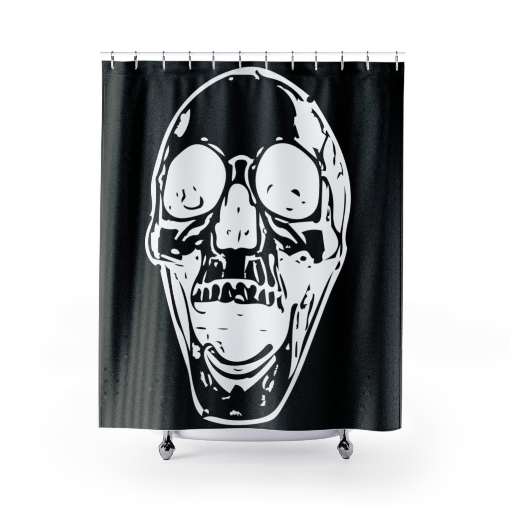Black with White Screaming Skull Shower Curtains