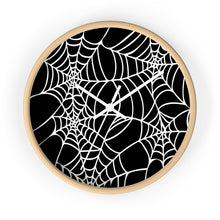 Load image into Gallery viewer, Halloween Decoration Black and white  spider web Wall clock white arms wood outer case