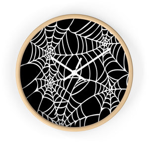 Halloween Decoration Black and white  spider web Wall clock white arms wood outer case