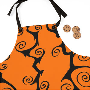 Halloween Orange and Black Swirls Cooking Apron