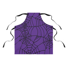 Load image into Gallery viewer, Halloween Purple with Spider Webs Apron For Arting or Cooking