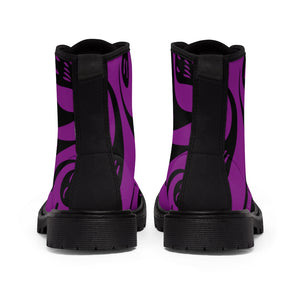 Black and Purple Ghost Women's Goth Fashion Canvas Boots