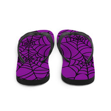 Load image into Gallery viewer, purple and black Halloween spider web flip flop for any goths summer spooky clothes collection back view