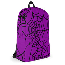 Load image into Gallery viewer, Purple Halloween Spider Web Backpack