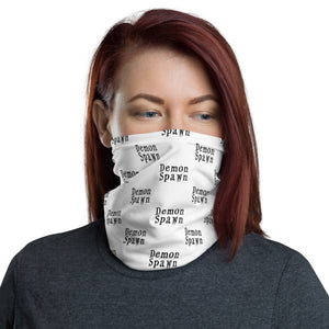 White with black letters Demon Spawn Neck Gaiter Face Mask