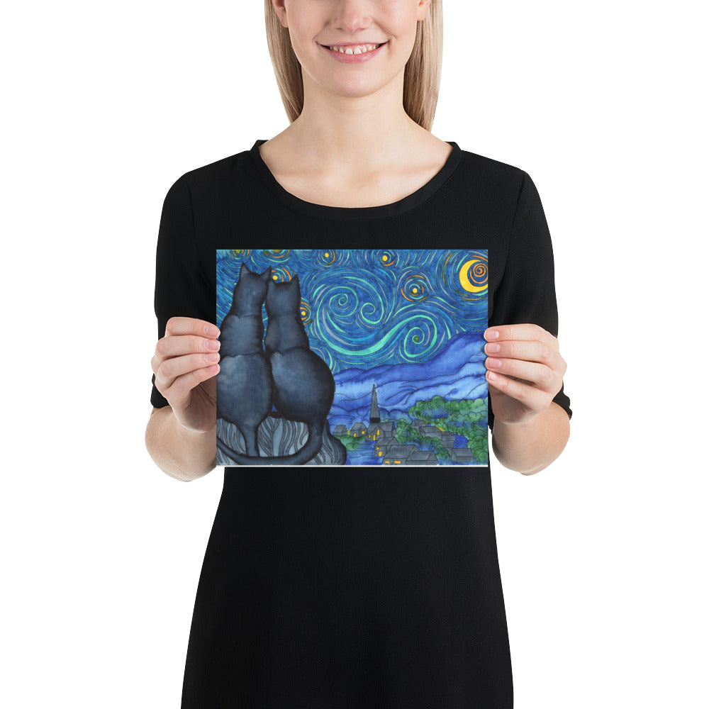 Starry Kitties Parody of Starry Night Poster