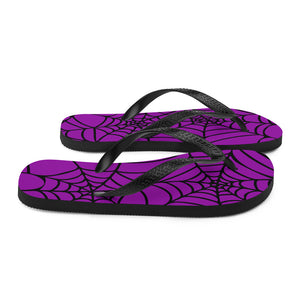 purple and black Halloween spider web flip flop for any goths summer spooky clothes collection