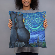 Load image into Gallery viewer, Starry Kitties Parody of Starry Night Basic Pillow