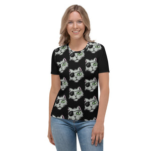Pirate Cat Women's Black T-shirt