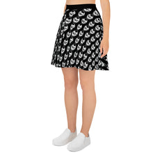 Load image into Gallery viewer, Black Goth Skull Pattern Skater Skirt