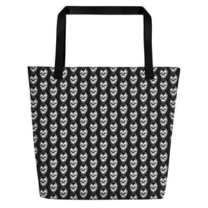Summer Goth Black With Skull Pattern Beach Bag