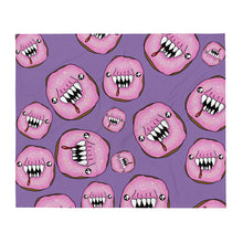 Load image into Gallery viewer, Scary pink and purple man eating doughnuts Throw Blanket