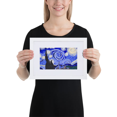 Starry Night Matte Paper Framed Poster With Mat