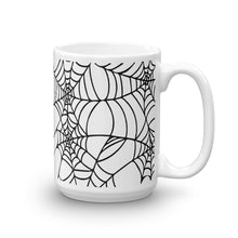 Load image into Gallery viewer, Black and White Spider Web Halloween Coffee Mug 15oz front view