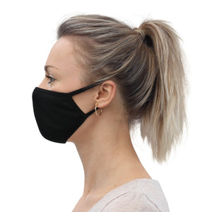 Plain Black Washable Face Mask (3-Pack)