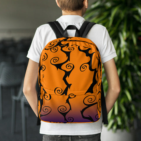 Orange black and purple Halloween spooky swirl backpack gift for Halloween fan