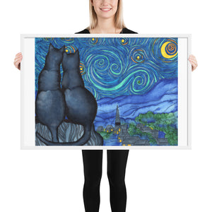 Starry Kitties Parody of Starry Night Framed poster