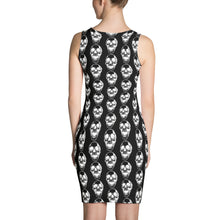 Load image into Gallery viewer, Black Goth Skull Pattern Form Fitting Dress