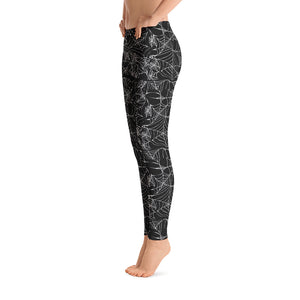 Black Goth  Spider Web Halloween Leggings