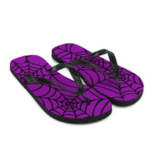 Load image into Gallery viewer, purple and black Halloween spider web flip flop for any goths summer spooky clothes collection  front view