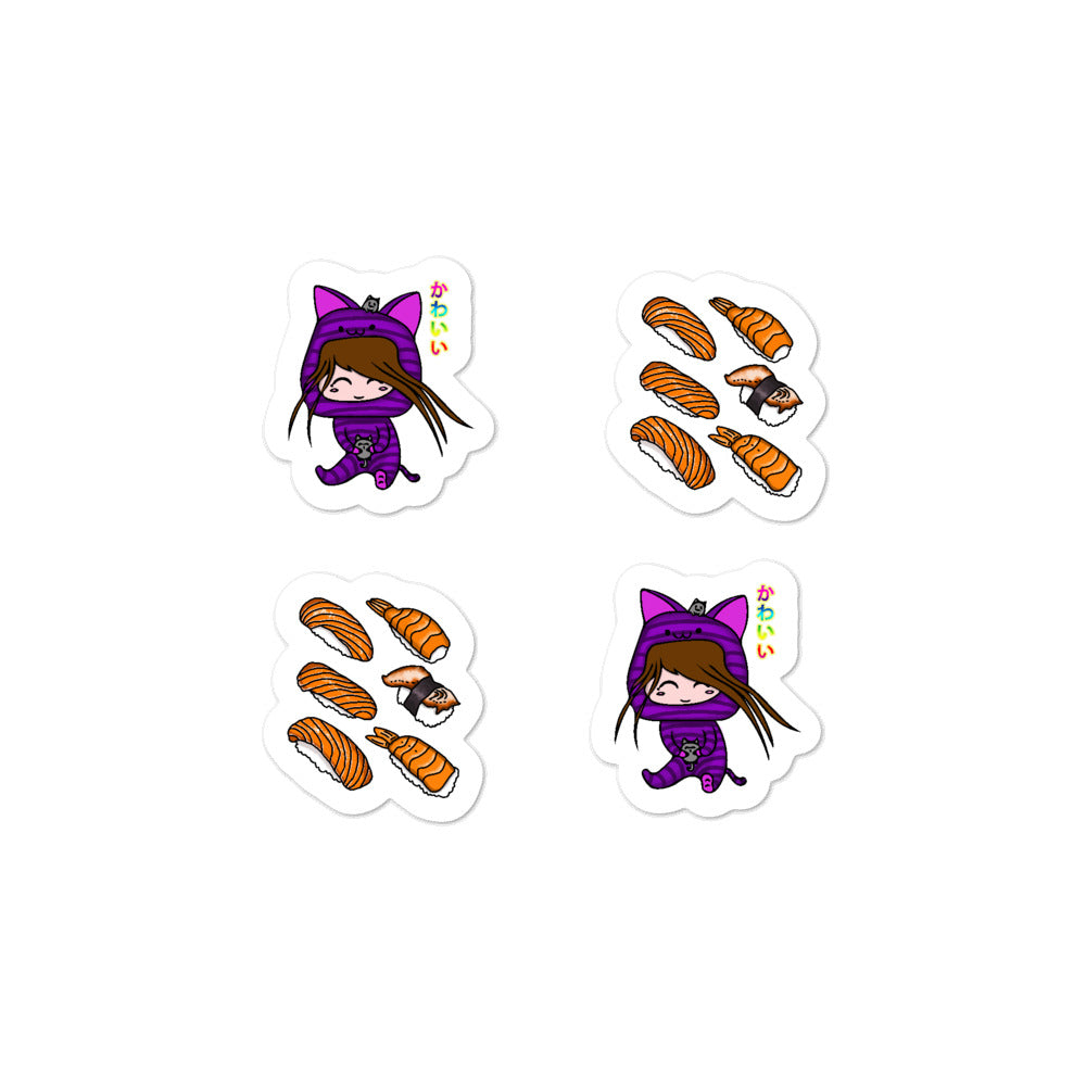 Cute Kawaii Cat Girl and Sushi Bubble-free stickers