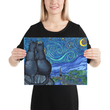 Load image into Gallery viewer, Starry Kitties Parody of Starry Night Poster