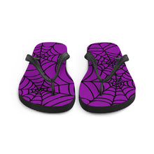 Load image into Gallery viewer, purple and black Halloween spider web flip flop for any goths summer spooky clothes collection