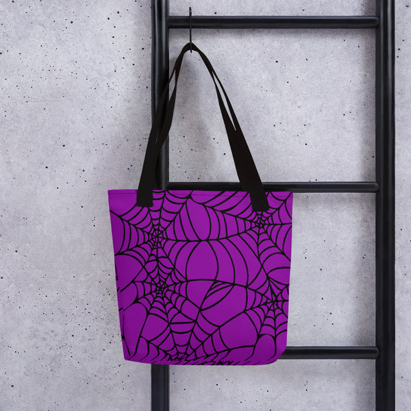 Purple with black spider web Halloween bag with straps Gift for goth