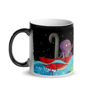 Octopus Fishing for a Spaceship Glossy Magic Mug