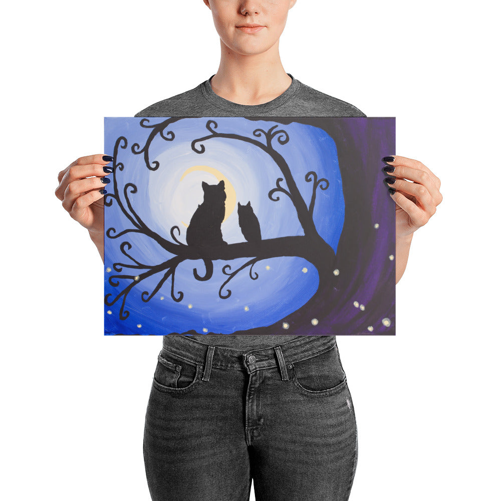 Dark Whimsical Art art print Night Creatures wall art