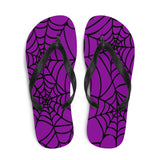 purple and black Halloween spider web flip flop for any goths summer spooky clothes collection  above view