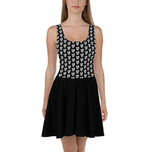 Load image into Gallery viewer, Black Goth With Skulls Skater Dress