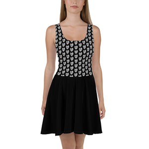 Black Goth With Skulls Skater Dress