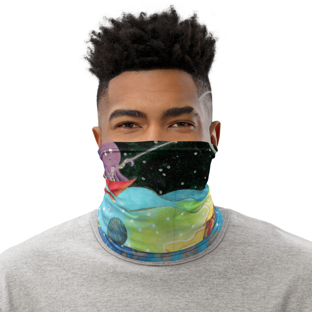 Fun Octopus Fishing For Spaceships Face Mask Neck Gaiter