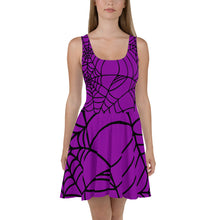 Load image into Gallery viewer, Purple with black spider web Halloween Skater Dress