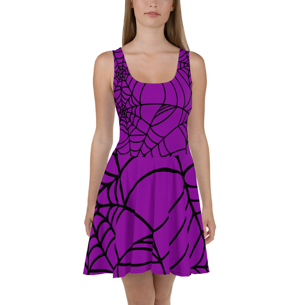 Purple with black spider web Halloween Skater Dress