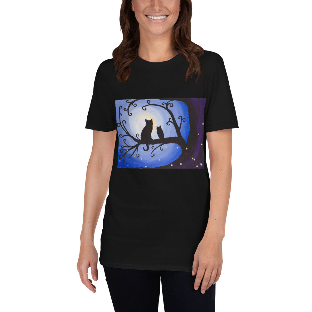 Whimsical Night Creatures owl and cat Short-Sleeve Unisex T-Shirt